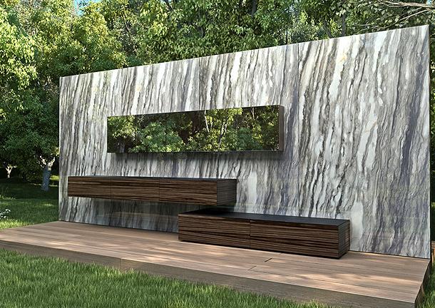 Minimalista mueble de baño en piedra y madera de estudio arqué