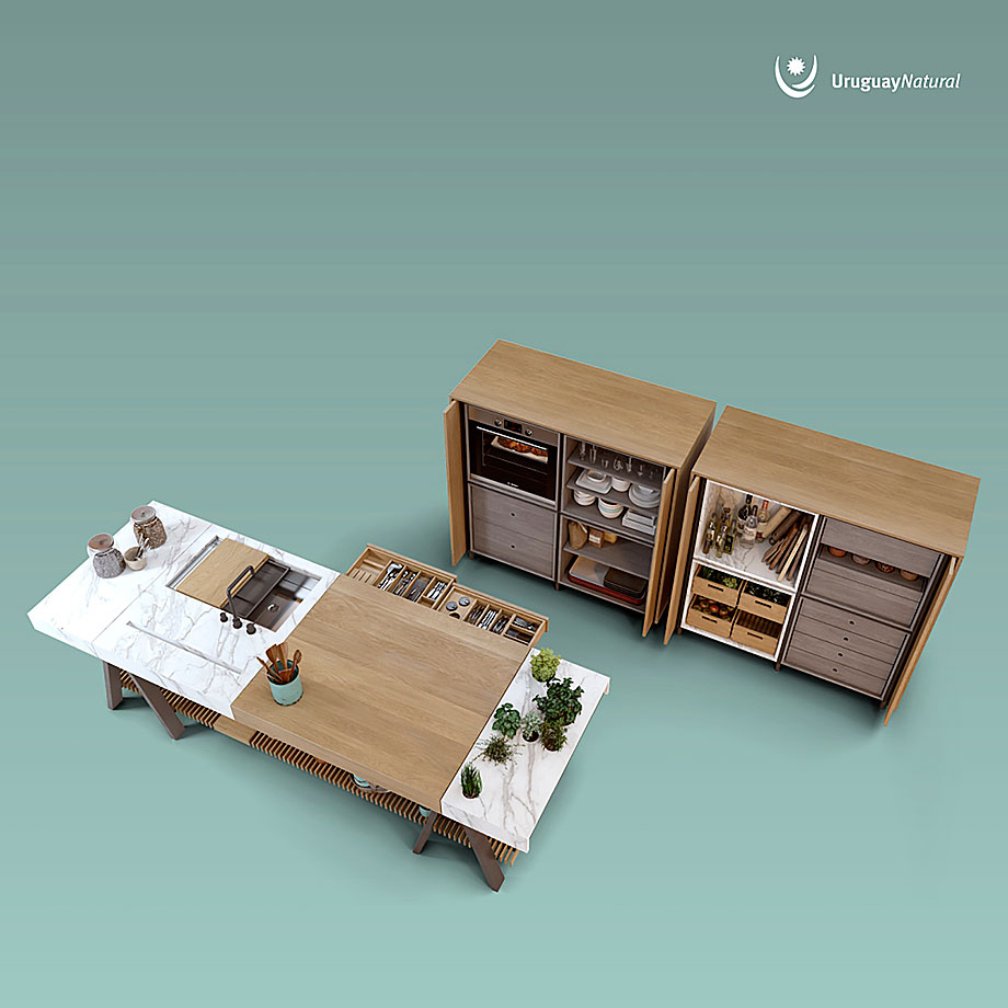 Contempor neo banco de cocina en madera y neolith for Banco exterior agencias