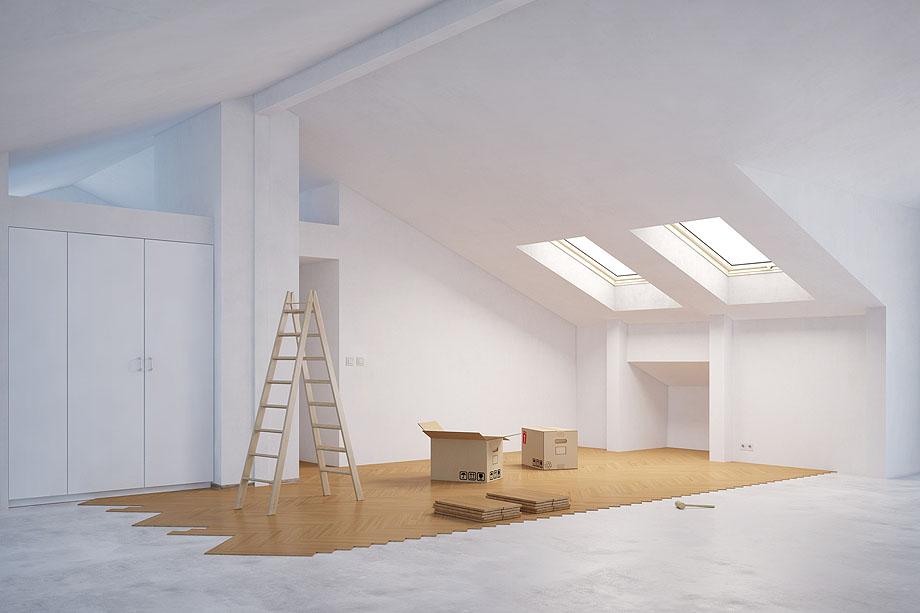 Ausbau vom Dachboden mit neuem Parkett aus Schwarzpappel