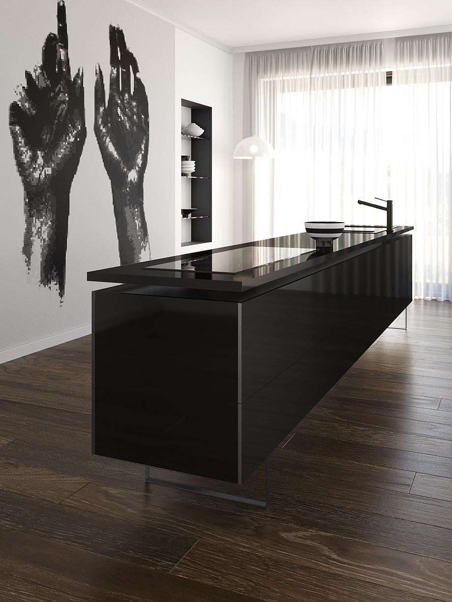 silestone iconic black en encimera cocina