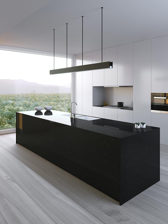 silestone negro stellar en cocina