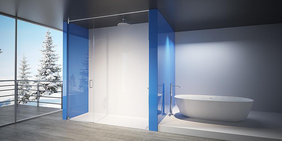 mampara para ducha de vidrio templado de seguridad con puerta pivotante modelo Alba Mackay de Lasser