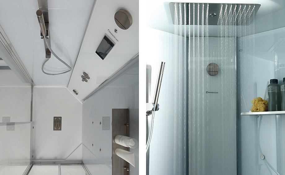 cabina de ducha whitespace cenital y vista interior de grandform