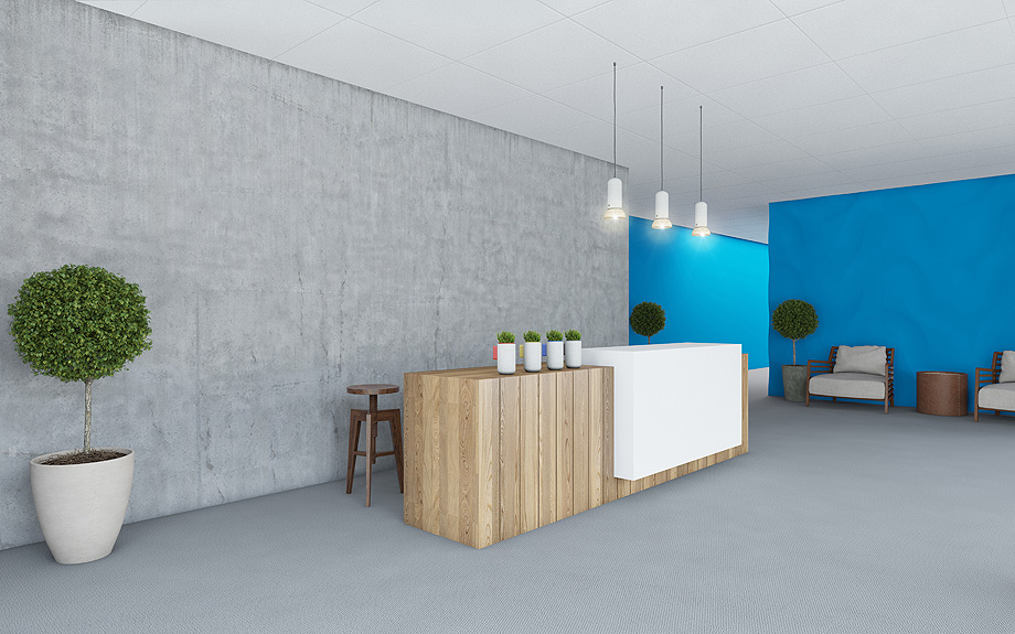 Office Interior Lobby with blue wall