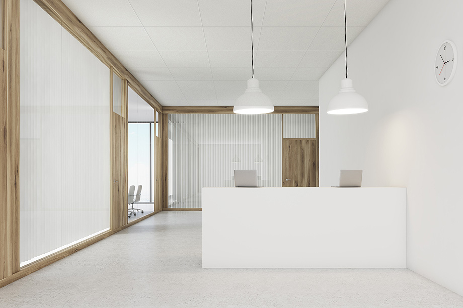 Front view of an office lobby. The reception counter is standing in the middle. Meeting room is seen in the background. 3d rendering. Mock up.