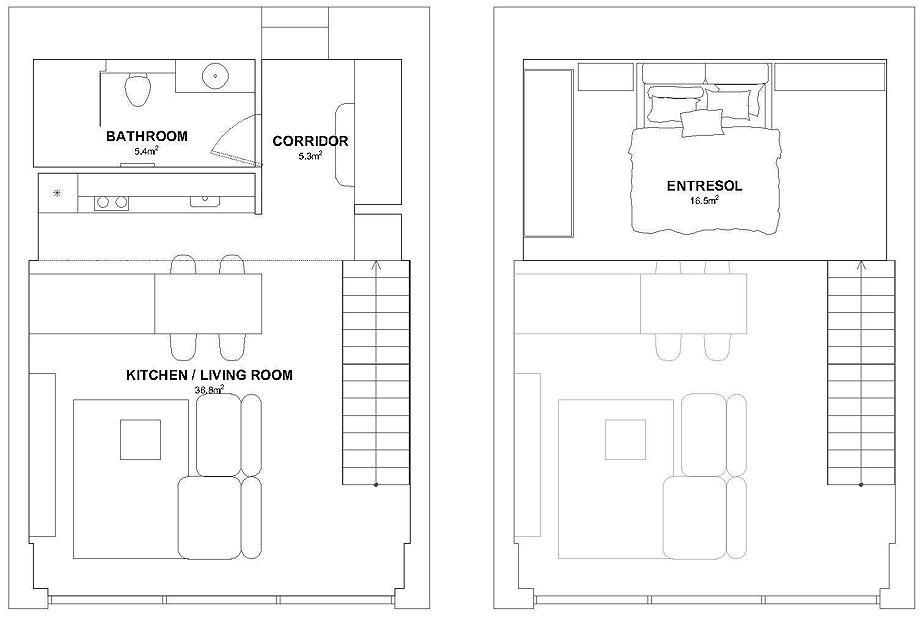 loft minimalista de idwhite - plano (36)