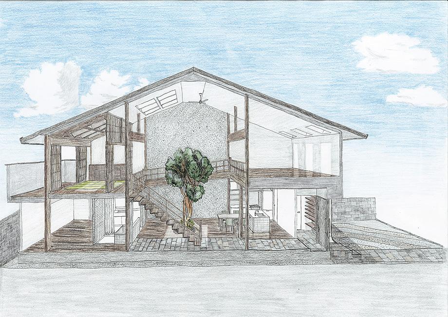 casa en kyoto de 07beach - esbozo seccion (14)