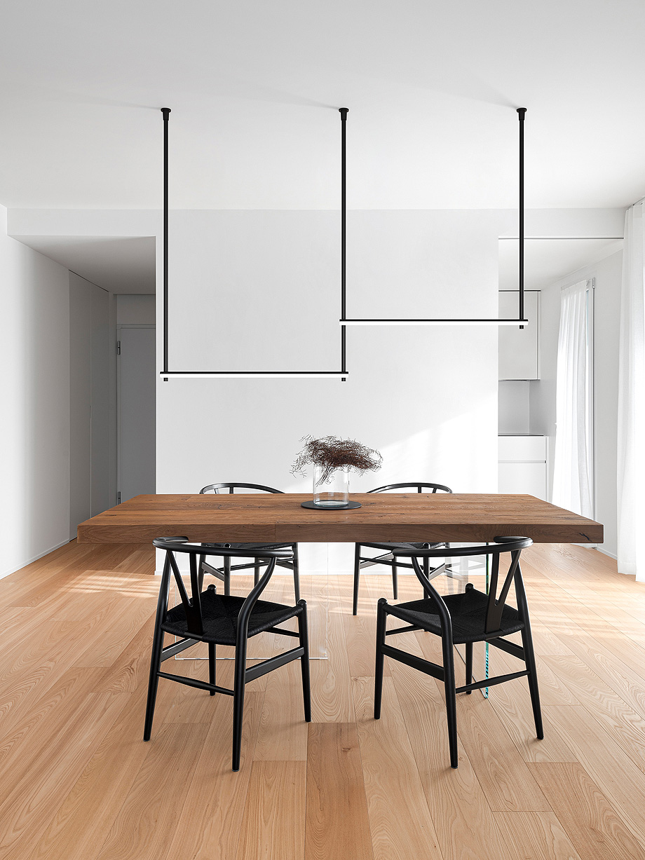 Dining area. Apartment for a couple, Mirano (VE), Italy. Architect: Andrea Nalesso, 2019.
