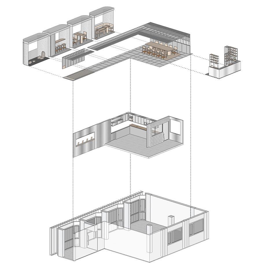 the zentral kitchen de lukstudio (19) - axonometria explotada b