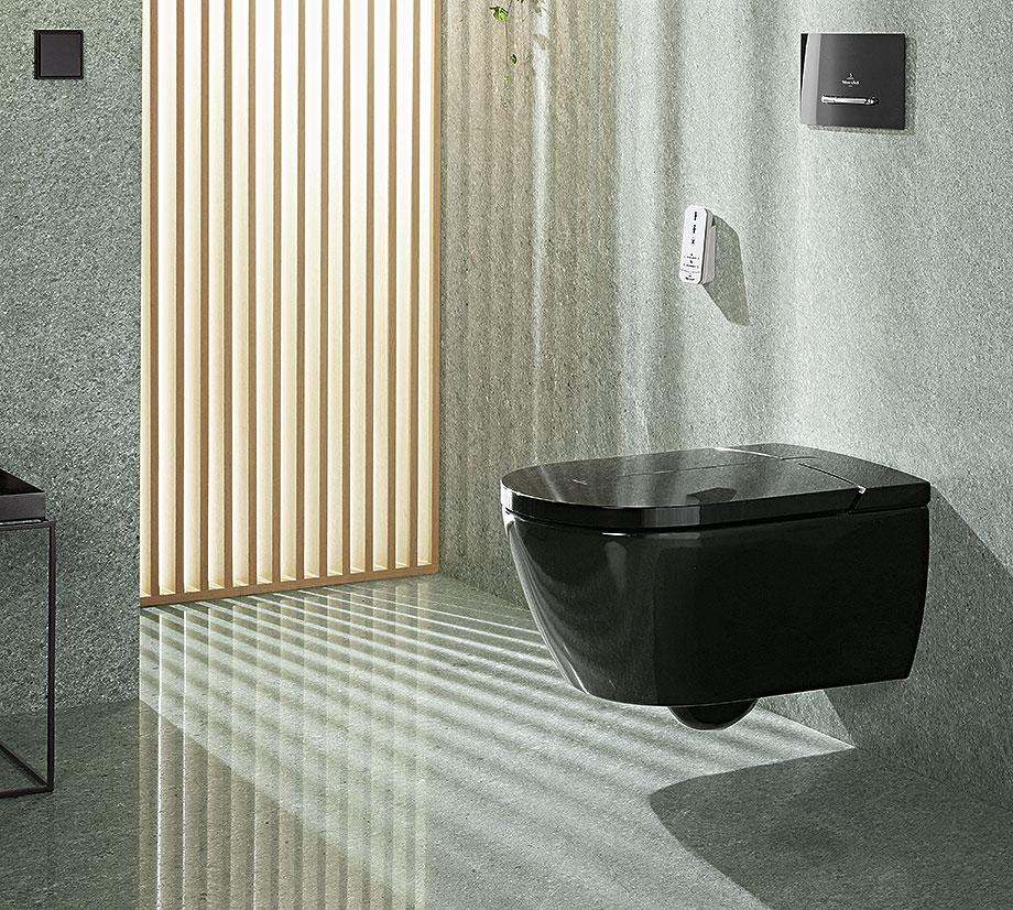 baños minimalistas con villeroy & boch - inodoro bide vi-clean negro