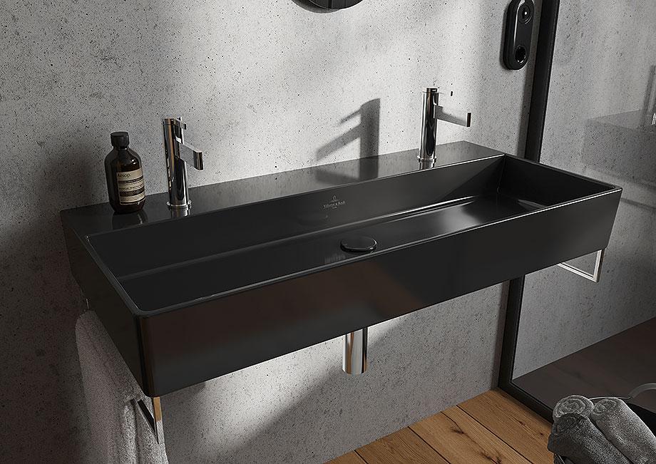 baños minimalistas con villeroy & boch - lavabo memento 2.0 negro