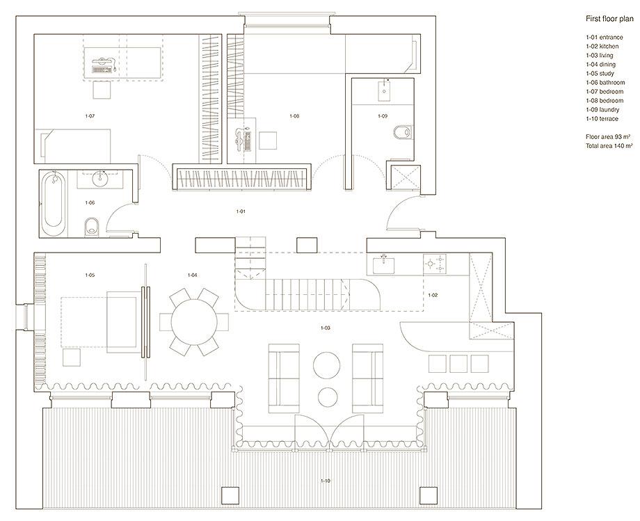 apartamento con un muro de piedra revestido con travertino por 2xj architects (12) - plano