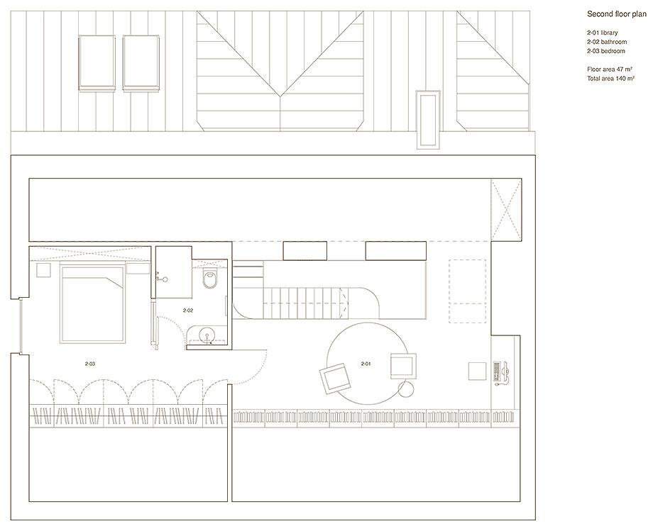 apartamento con un muro de piedra revestido con travertino por 2xj architects (13) - plano