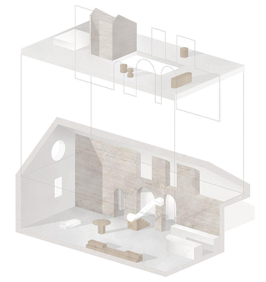 apartamento con un muro de piedra revestido con travertino por 2xj architects (15) - plano