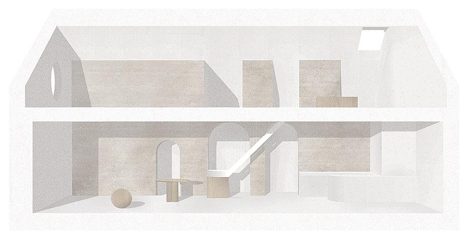 apartamento con un muro de piedra revestido con travertino por 2xj architects (16) - plano