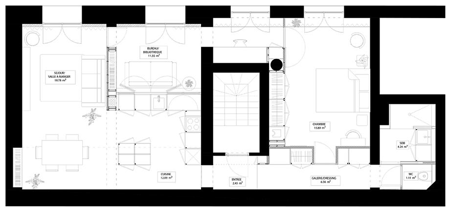 reforma integral de un apartamento en paris por anthropie architecture (s) (15) - planta